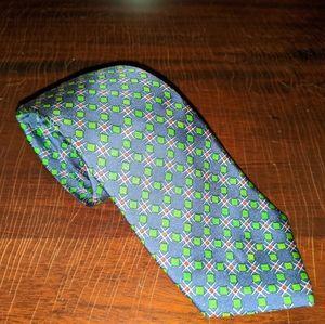 VTG HERMES Silk Tie Blue & Green Geometric Print